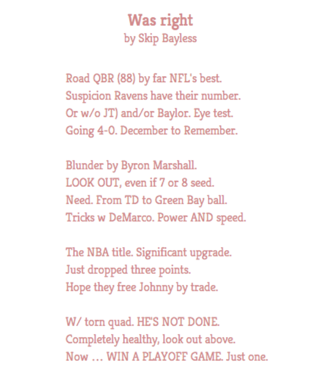Three Twitter Poems by Darren Rovell, Peter King, and Skip