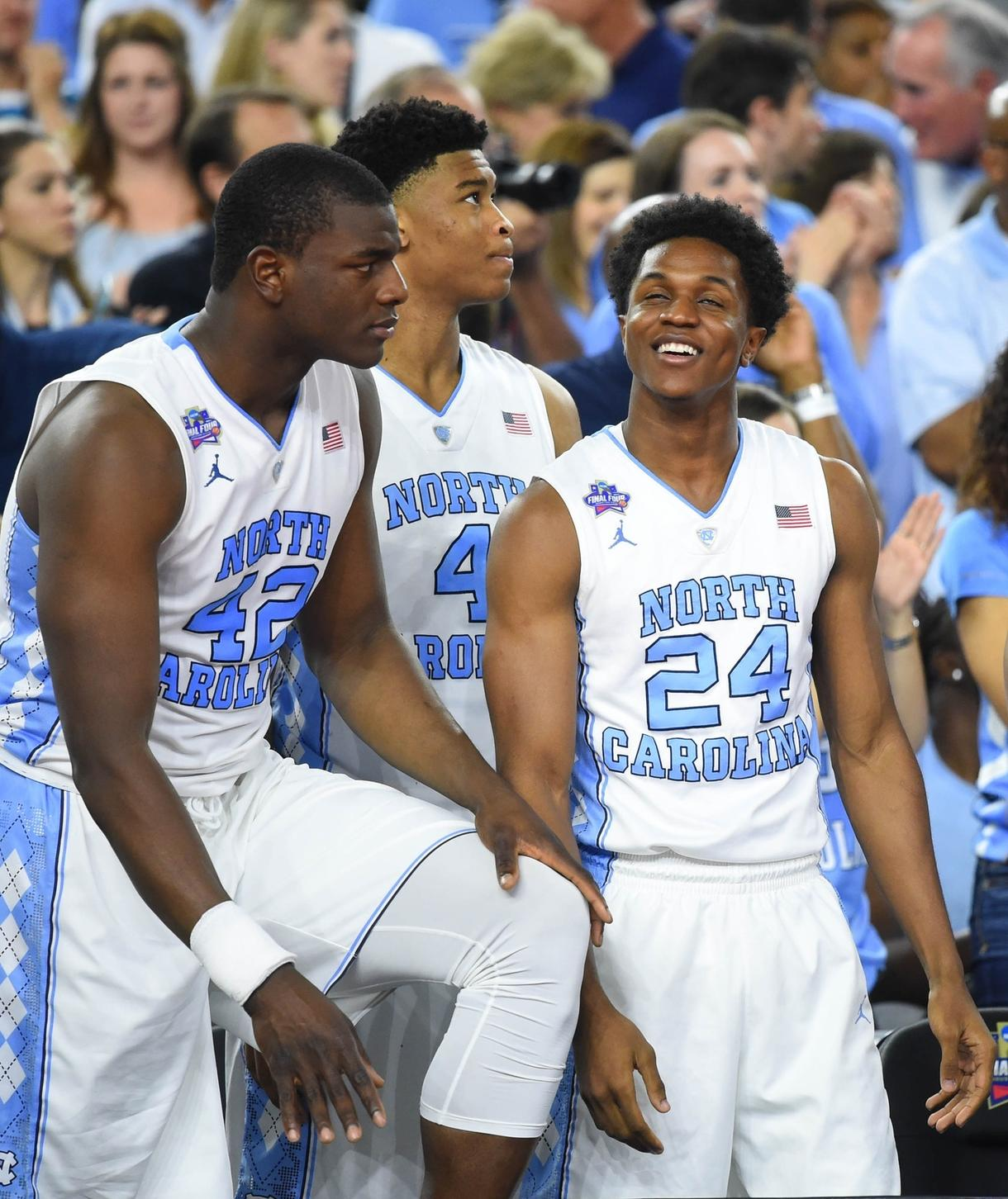 North Carolina Players Joel James 42 Isaiah Hicks 4 And Kenny Williams 24 During The 2016 Final Four Photo By Robert Deutsch USA TODAY Sports