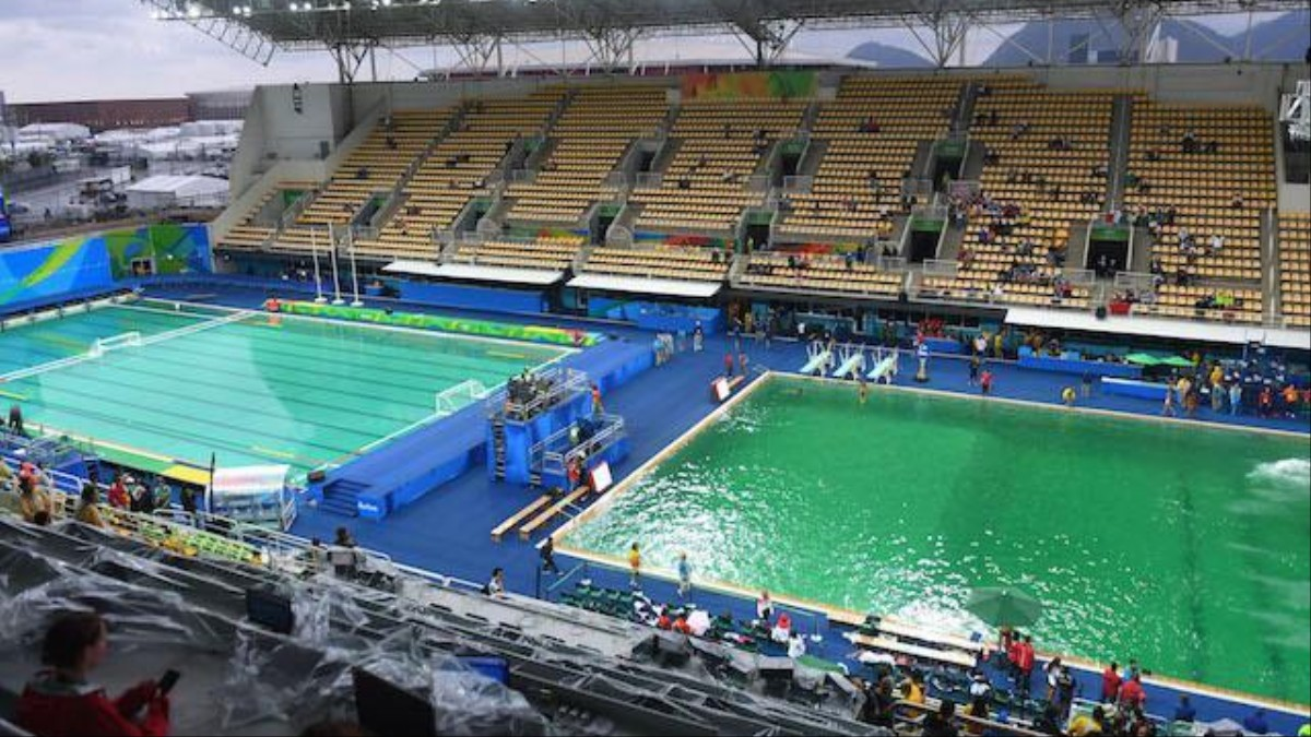 Water Turned Green In Olympic Pools Because Someone Dumped