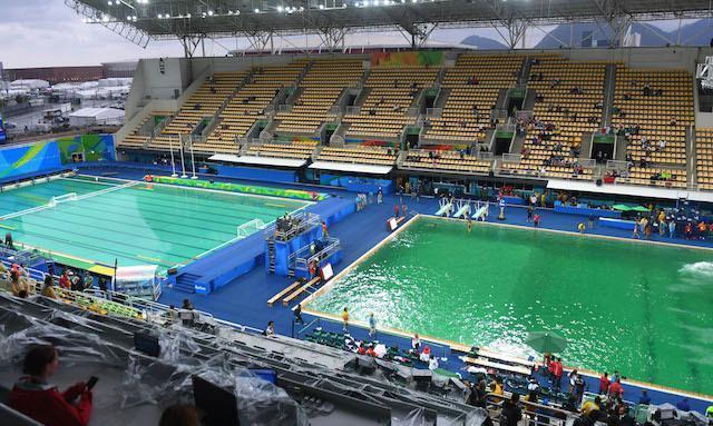 Water Turned Green In Olympic Pools Because Someone Dumped Hydrogen Peroxide In Them Vice Sports