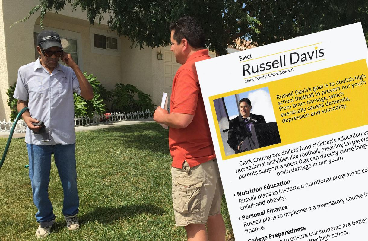 Russell Davis Campaigns Door To Door In Las Vegas Photo Illustration By  Caitlin Kelly; Photos