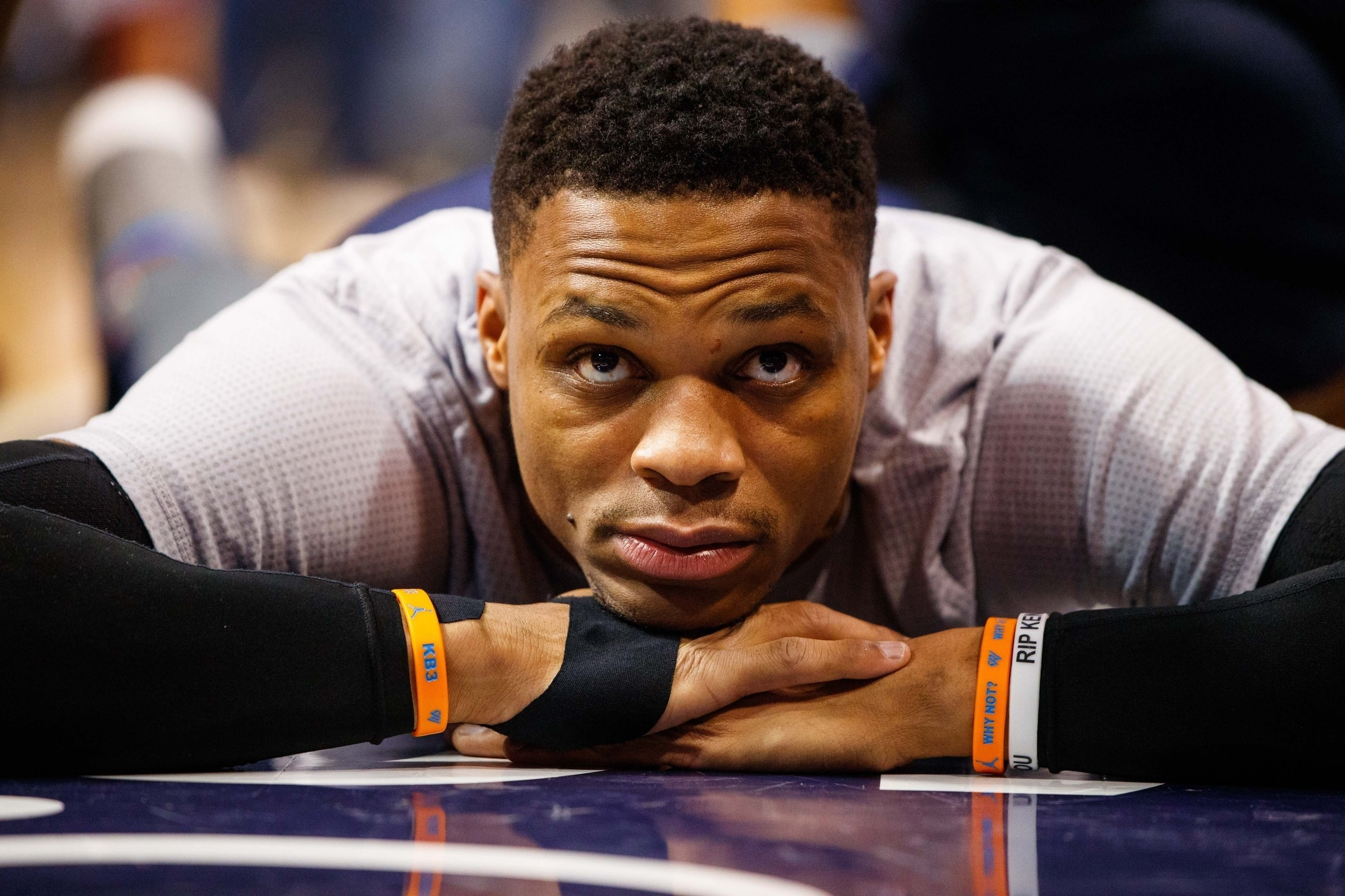 6786f50fbac5 Russell Westbrook takes the court each night wearing a wristband that says