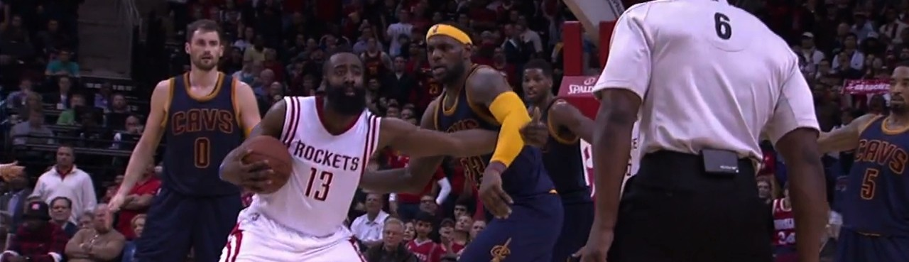James Harden and LeBron Locked in the Weirdest No-Call Ever
