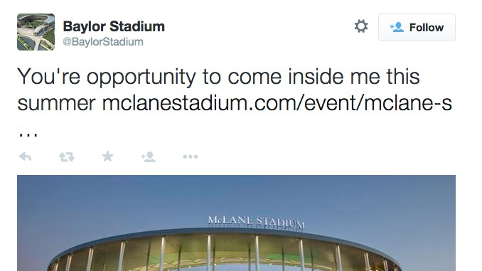 Baylor's Football Stadium Is Tweeting, Possibly Horny