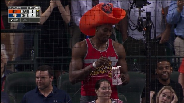Dwight Howard Is At The Astros Game, Being Dwight Howard