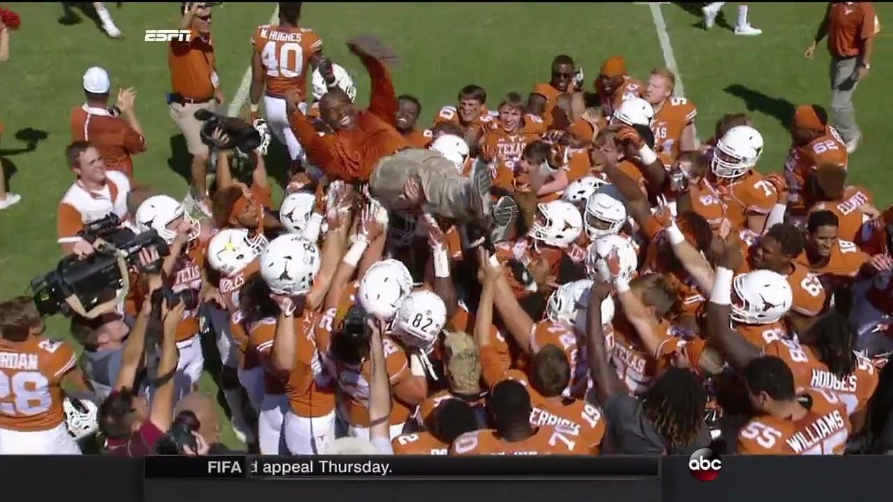 Texas Beats Oklahoma, Charlie Strong Goes Crowdsurfing