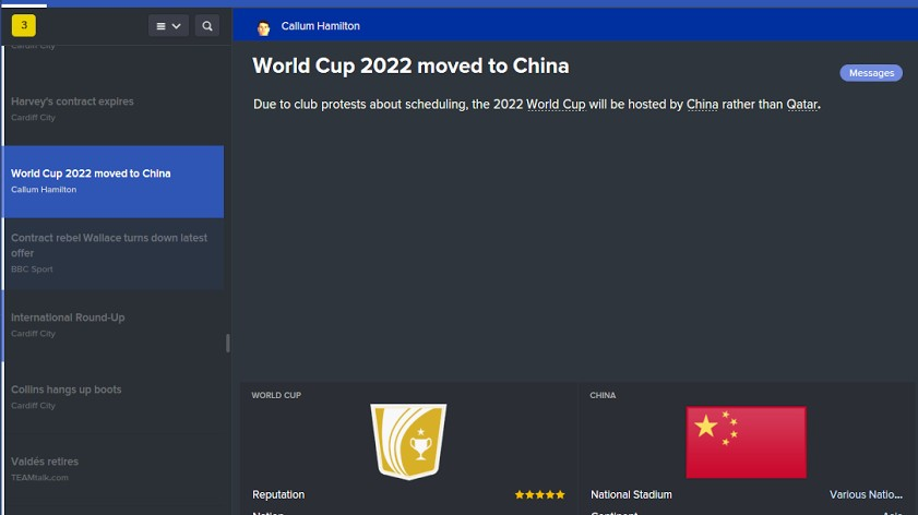 The New Football Manager Game Moves the 2022 World Cup from Qatar to China