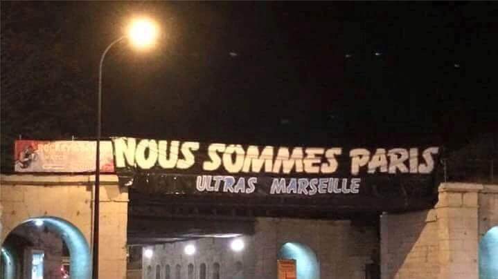 Marseille Banner in Support of Paris Torn Down
