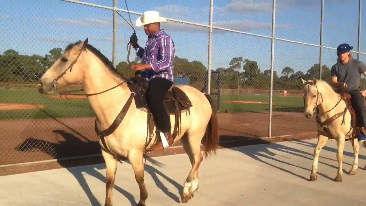 Yoenis Cespedes Goes Back to Basics, Rides into Camp on a Horse