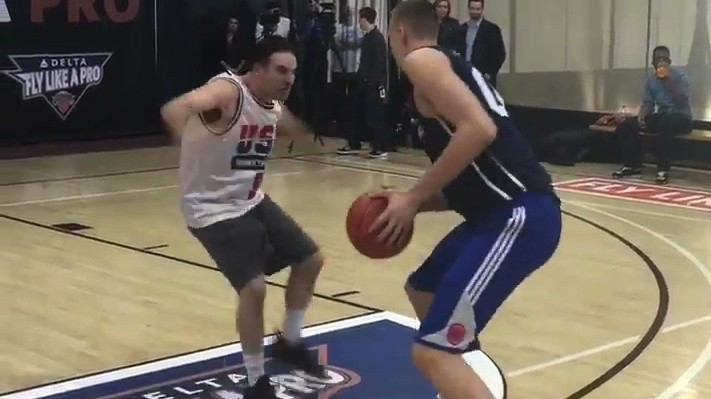 Darren Rovell Tries to Guard Kristaps Porzingis, Maybe Has a Stroke?