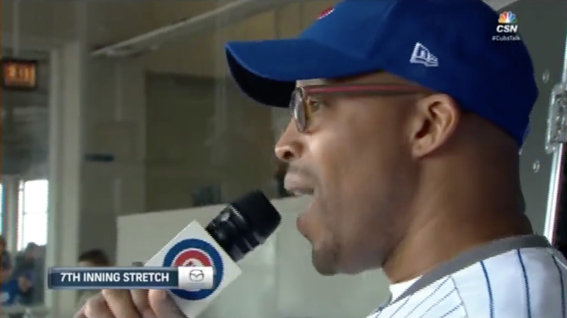 """Warren G Butchers """"Take Me Out to the Ballgame"""" at a Cubs Game"""