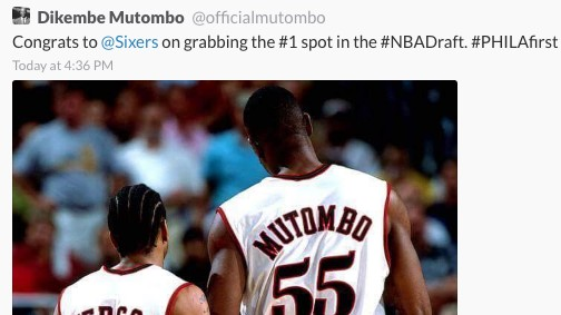 Dikembe Mutombo Deletes Tweet Congratulating Sixers on Winning NBA Draft Lottery