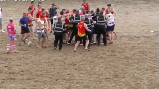 Welsh Beach Touch Rugby Match Turns Into a Brawl