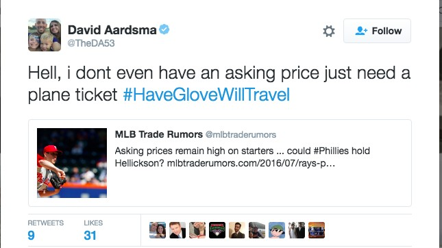 The Thirst is Real: Reliever David Aardsma Is Using Twitter To Find a Job