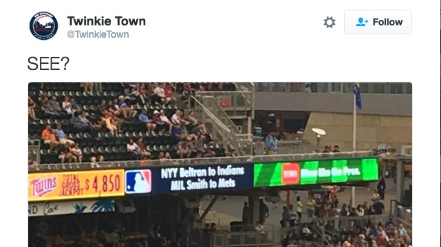 Twins Scoreboard Was Announcing Trades That Hadn't Actually Happened