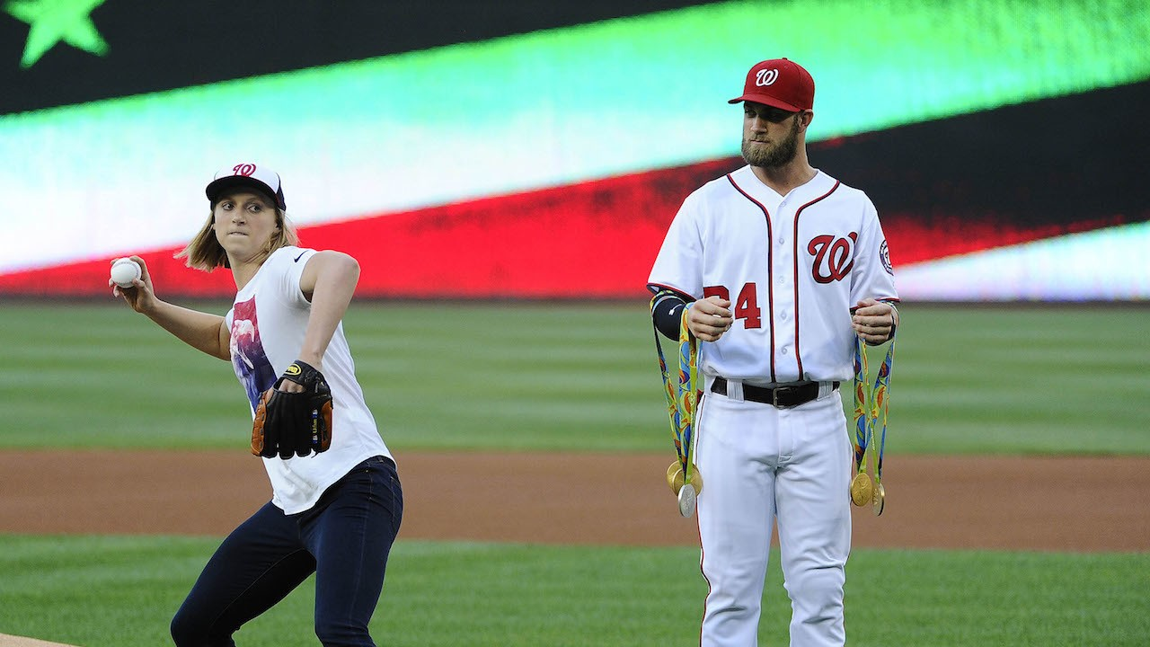Some Chump Held Katie Ledecky's Olympic Medals While She Threw Out First Pitch at Nats Game
