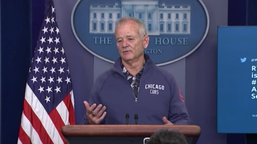 Bill Murray Drops in on White House Press Briefing Room, Talks Cubs