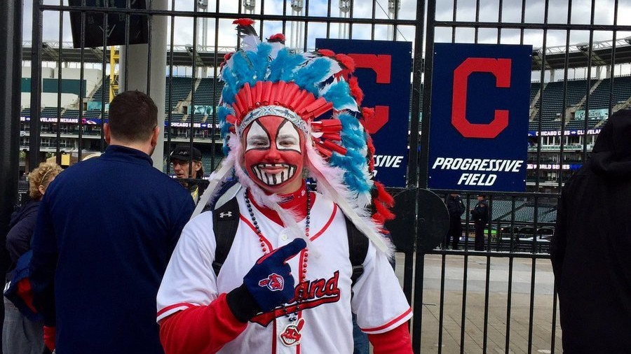 Idiot Cleveland Fan Paints Face like Racist Chief Wahoo Mascot