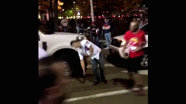 Cubs Fan Gets Knocked out by Indians Fan
