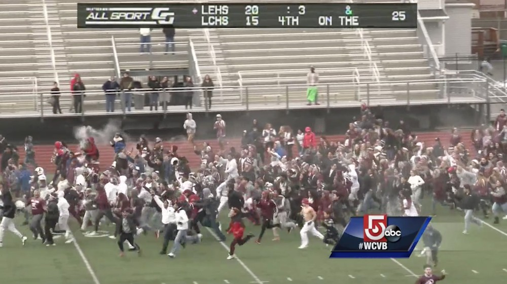 Thanksgiving High School Game Ends In Bonkers Comeback After Losing Team's Fans Stormed the Field
