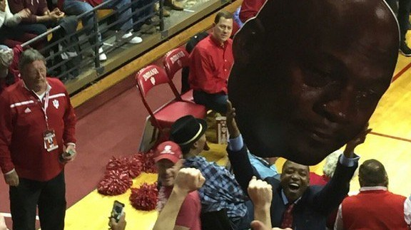 Isiah Thomas Holds Up Crying Jordan Sign after Indiana Beats UNC