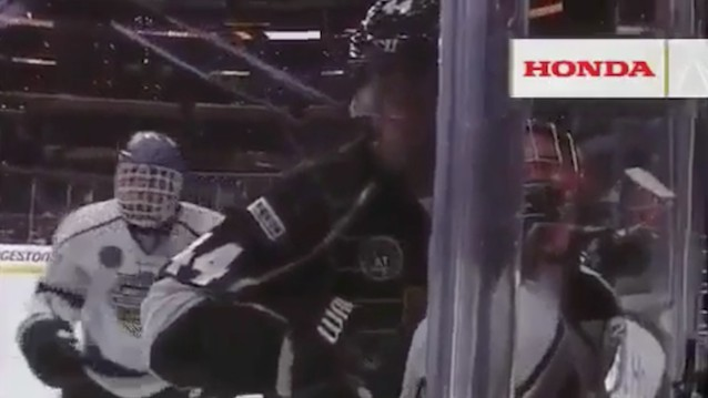 Justin Bieber Gets Smushed Into the Glass By Chris Pronger at NHL All-Star Celebrity Shootout