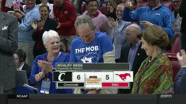 george w bush reveals the mob shirt to delight of smu student