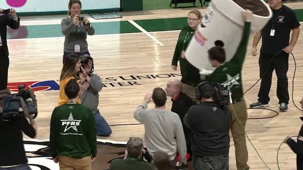Some Guy Ruins This Woman's Perfectly Good Half-Court Shot with a Marriage Proposal