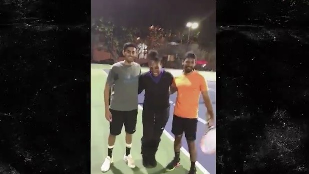 Serena Williams Surprises Two Dudes Playing Tennis, Asks to Play Winner