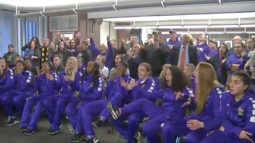 Watch Albany React in Disbelief When They Learn They're Playing UConn in NCAA Tournament