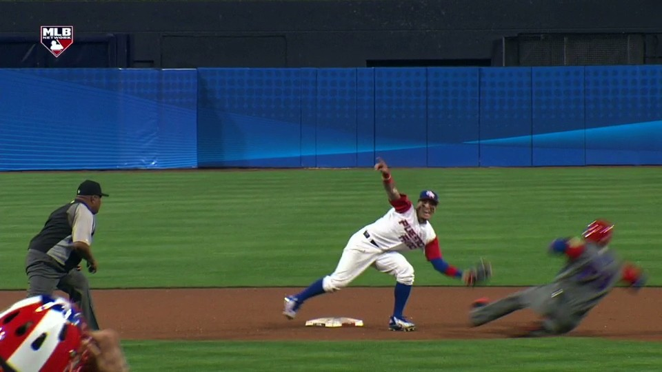 Javier Baez Celebrates the Rare No-Look Tag at Second Base Before it Even Happens