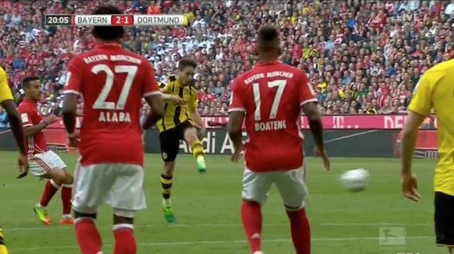 Dortmund's Raphaël Guerreiro Puts a Hurt on The Ball To Sear The Upper Corner of the Net